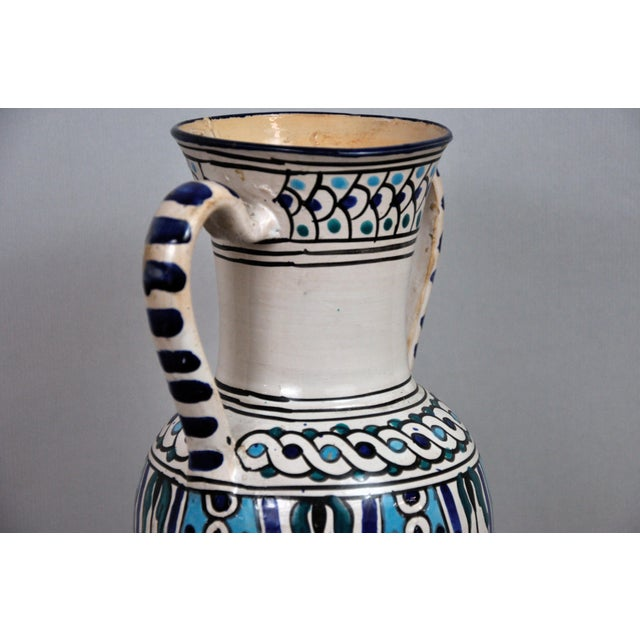 Handpainted Vintage Italian Blue and White Decorative Vase For Sale - Image 12 of 13
