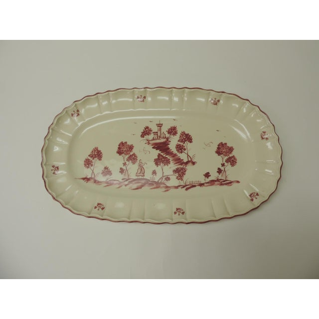 Ceramic Vintage Pierre Deux French Country Oval Toile Scene Pink Serving Platter For Sale - Image 7 of 7
