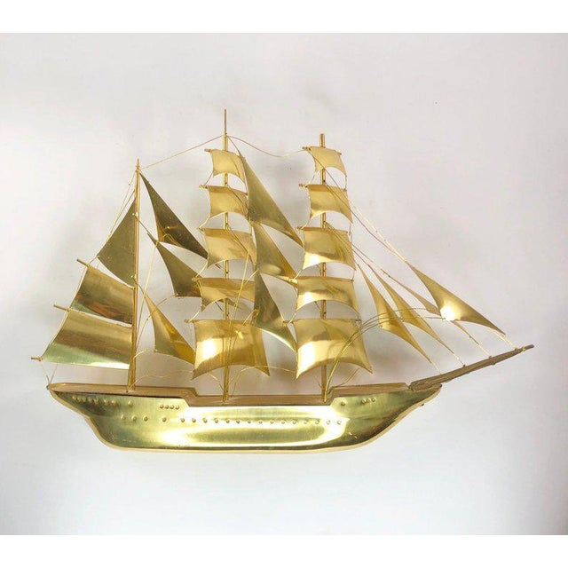 Vintage Mid-Century Brass Ship Figurine For Sale - Image 10 of 10