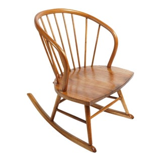 Mid-Century Modern Kofod-Larsen Style Cherry Rocking Chair For Sale