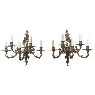 French 19th Century Gilded Bronze Wall Sconces For Sale
