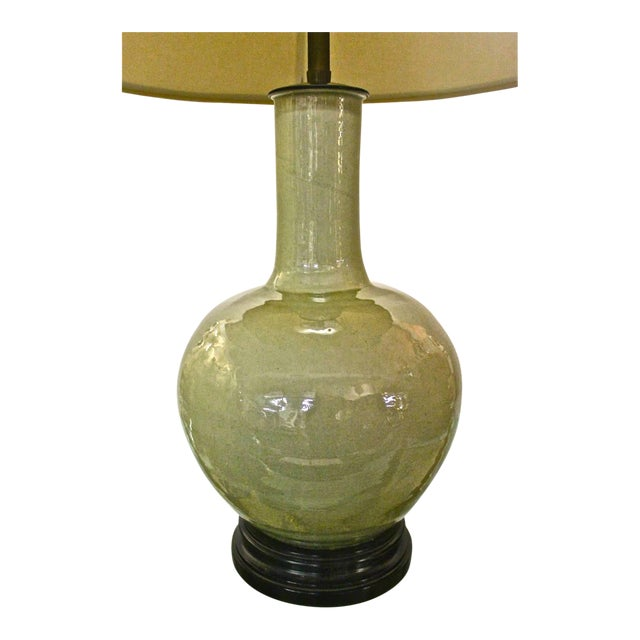 Beautiful Large Marbro Chinese Celadon Lamp For Sale