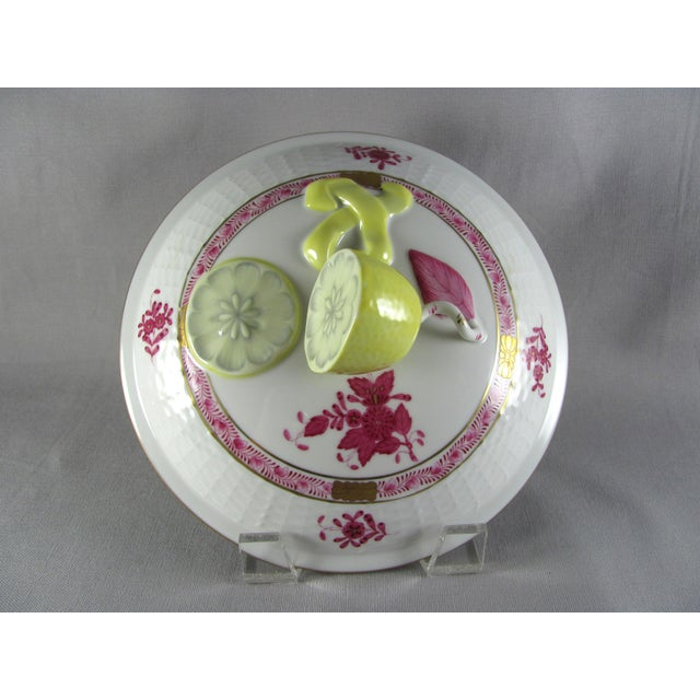 Ceramic Herend Chinese Bouquet Raspberry Bean Pot Tureen With Lemon Finial For Sale - Image 7 of 10