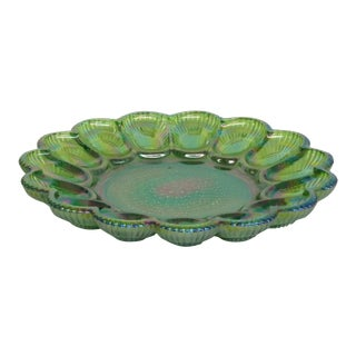 Indiana Carnival Glass Green Hobnail Style Deviled Egg Dish Plate Tray For Sale