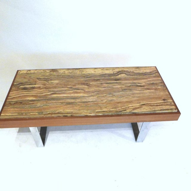 1960s Ilse Möbel Coffee Table With Rare 'Onyx Travertine', Teak & Chrome From Germany For Sale - Image 5 of 12