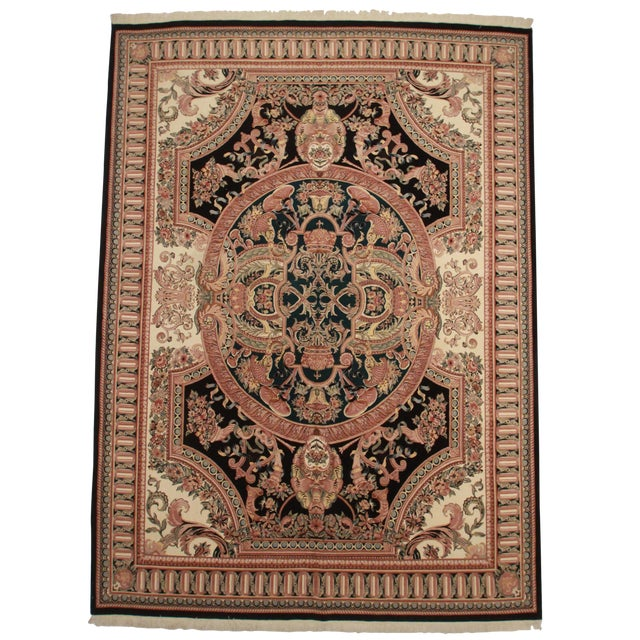 RugsinDallas Hand Knotted Wool Pakistani Rug With French Design - 10′1″ × 14′5″ For Sale