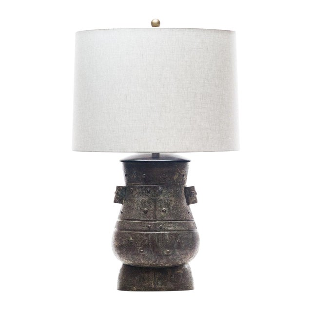 Lawrence & Scott Hogo Table Lamp in Archaic Bronze For Sale