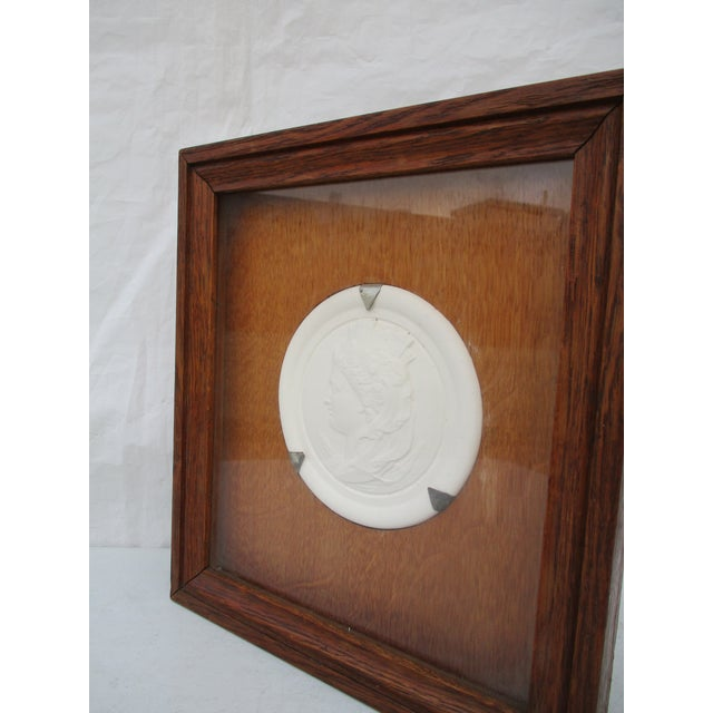 Beaux-Arts Commemorative Bisque Classical Medallion Encased in Oak Box For Sale - Image 3 of 5