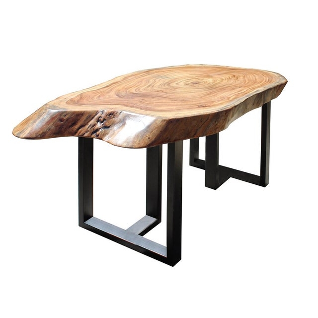 Raw Wood Plank Uneven Shape Metal Base Desk For Sale - Image 4 of 7