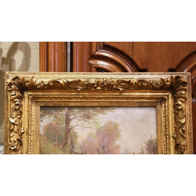 Canvas 19th Century French Sheep Painting in Carved Gilt Frame Signed Charles Clair For Sale - Image 7 of 12