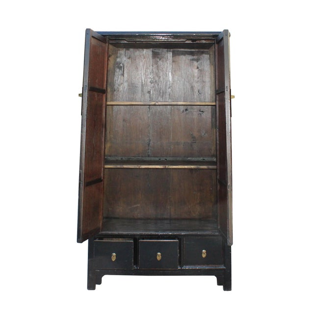 Chinese Distressed Black Lacquer Ladder Shape Tall Armorie Cabinet For Sale - Image 4 of 5