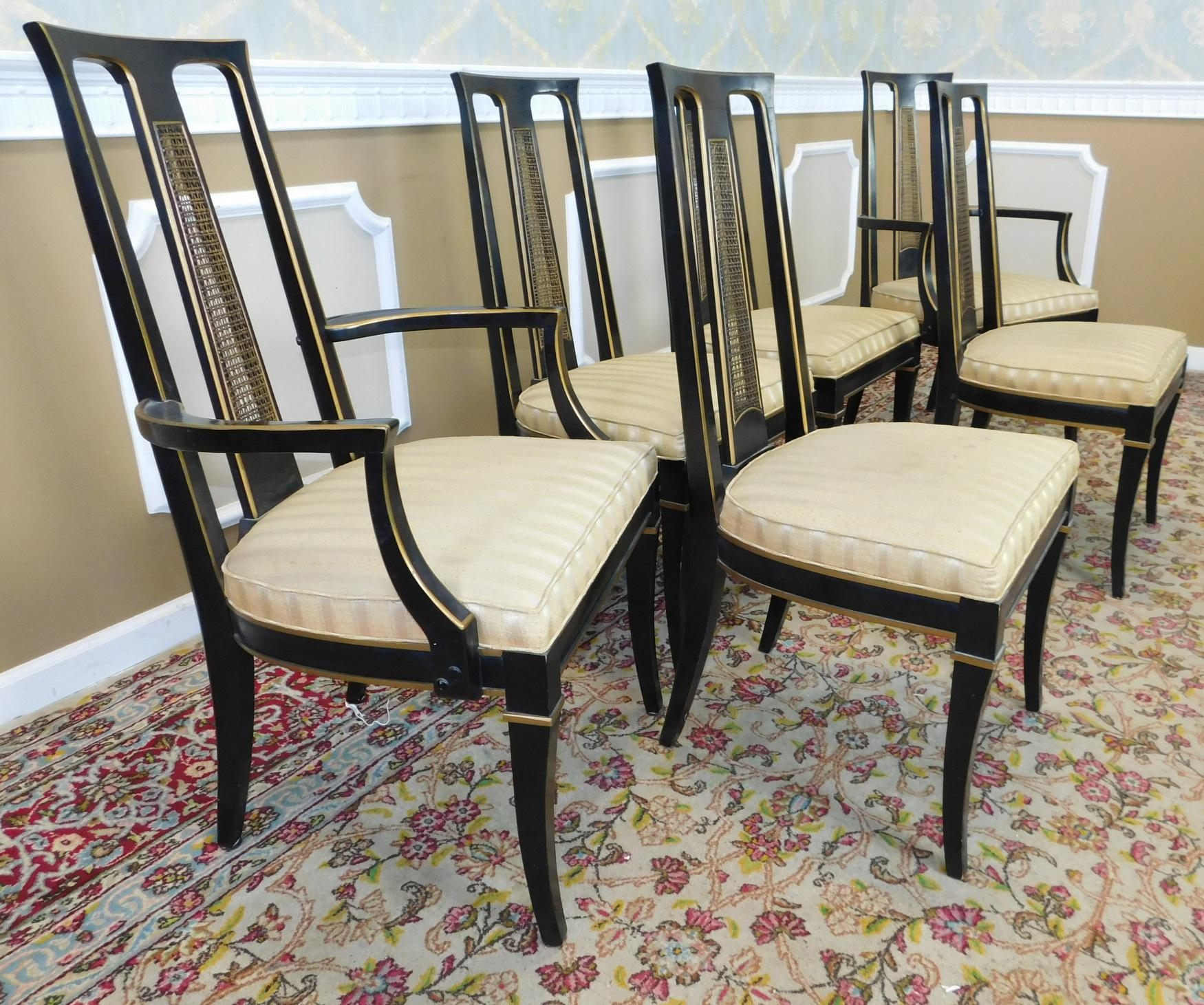 1980s Drexel Heritage Et Cetera Asian Style Black Lacquered Dining Room  Chairs  Set Of 6