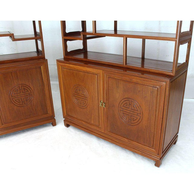 Gold 1990s Asian Solid Teak Étagère/Double Carved Door Cabinets - a Pair For Sale - Image 8 of 14