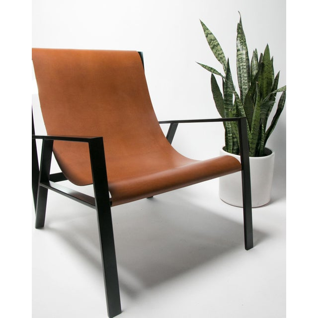 Not Yet Made - Made To Order Hampton Light Black Frame, Distressed Brown Leather Lounge Chair For Sale - Image 5 of 8