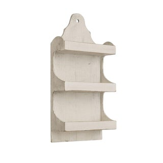 Antique White Wooden Wall Shelf Unit For Sale