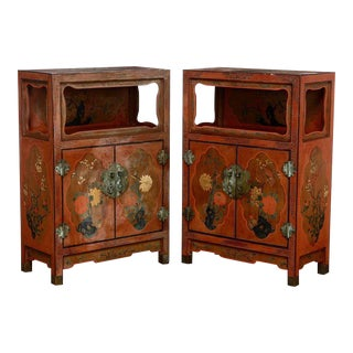 Chinese Red Lacquer Open Shelf Cabinets - A Pair