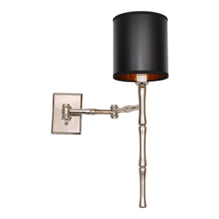 Jacques Adnet Style Faux Bamboo Chrome Retractable Wall Sconce, Reading Light For Sale