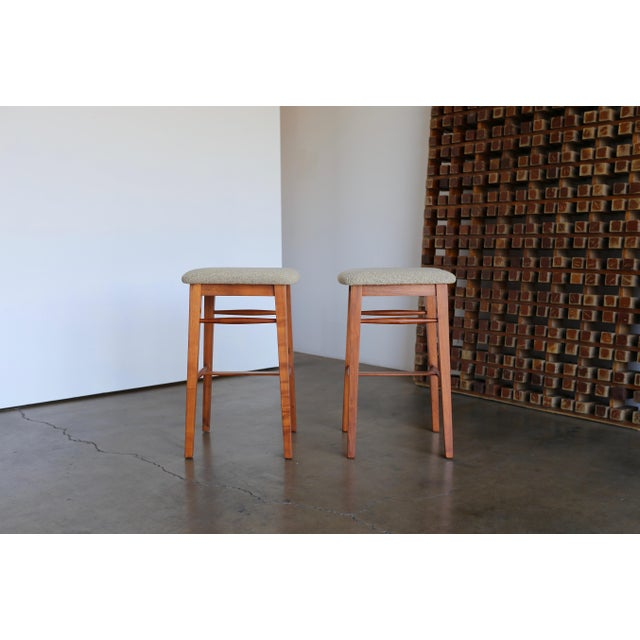Mid-Century Modern Mid-Century Modern Kipp Stewart for Glenn of California Walnut Stools - a Pair For Sale - Image 3 of 11