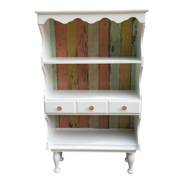 Farmhouse Shabby Chic White Cabinet For Sale