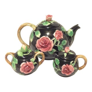 Fitz and Floyd Midnight Rose Tea Pot, Sugar, & Creamer For Sale