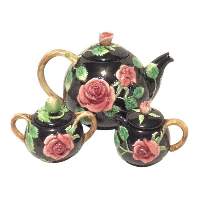 Fitz and Floyd Midnight Rose Tea Pot, Sugar, & Creamer For Sale