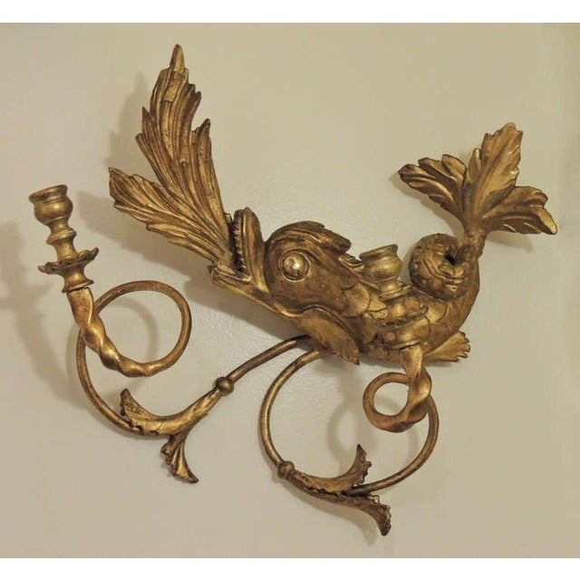 American Classical Early 19th C American Dolphin Giltwood Sconces For Sale - Image 3 of 9