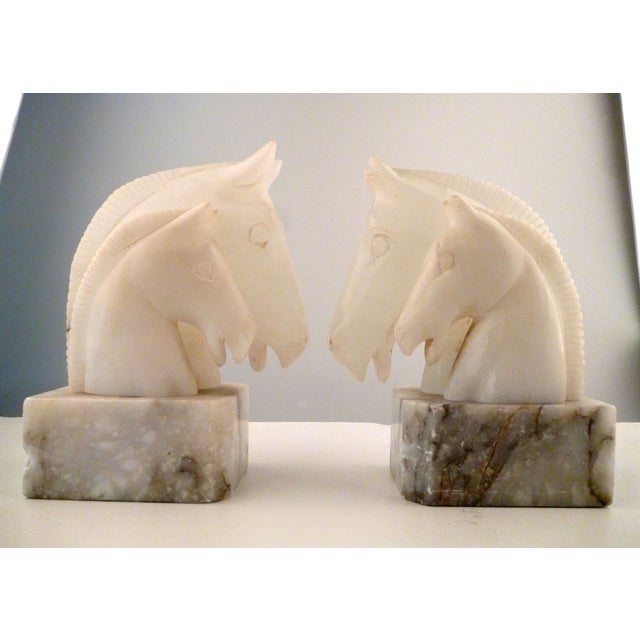 Alabaster Horse Bookends on Marble Bases - Pair - Image 4 of 11