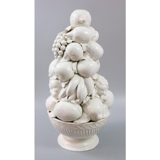 Italian White Creamware Fruit Topiary Centerpiece For Sale - Image 4 of 11