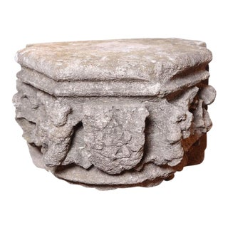 Rare 16th Century Architectural Stone Capital From France For Sale