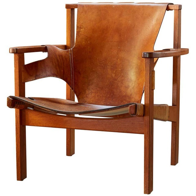 "1950s Carl Axel Acking ""Trienna"" Chair in Patinated Brown Leather For Sale - Image 13 of 13"