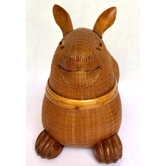 20th Century Shanghai Collection Hand Woven Wicker Rabbit Box For Sale In West Palm - Image 6 of 13