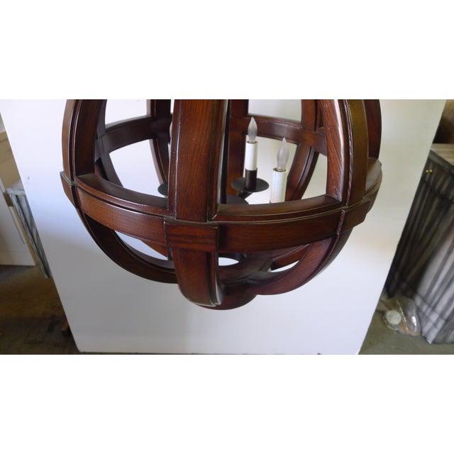 Metal Carved Wood Sphere Chandelier Pendant by Paul Marra For Sale - Image 7 of 8