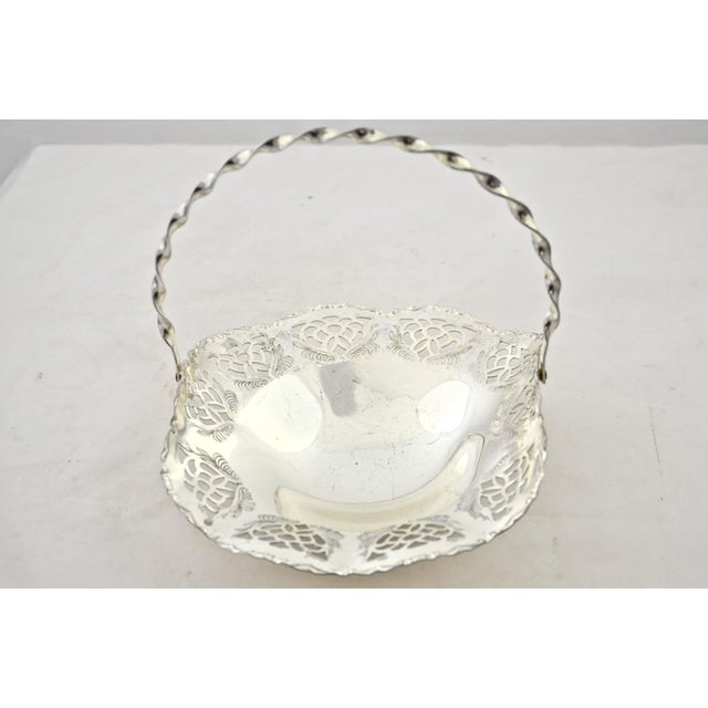 Cottage Silver Reticulated Footed Catchall For Sale - Image 3 of 6