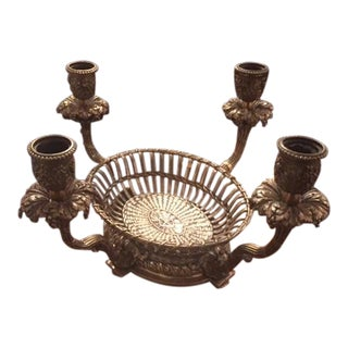 1900s French Silvered Bronze Candle Center Bowl Basket For Sale