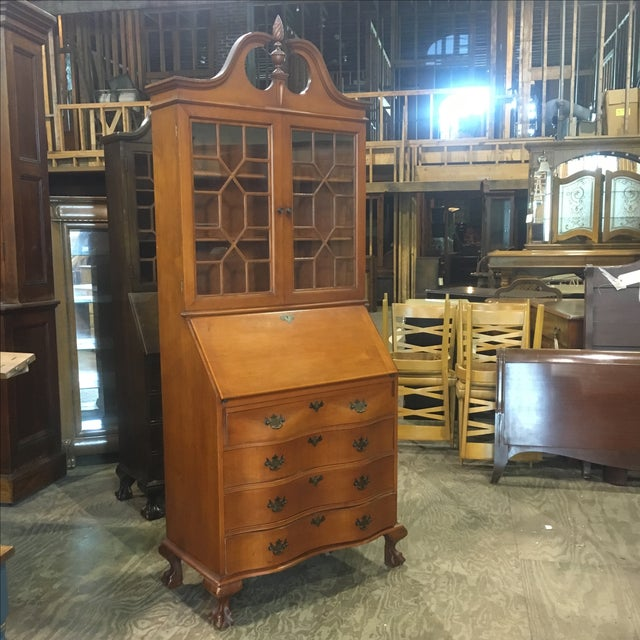 Beautiful Antique Secretary With Drop Front Desk And 2 Door Bookcase Top 4 Serpentine