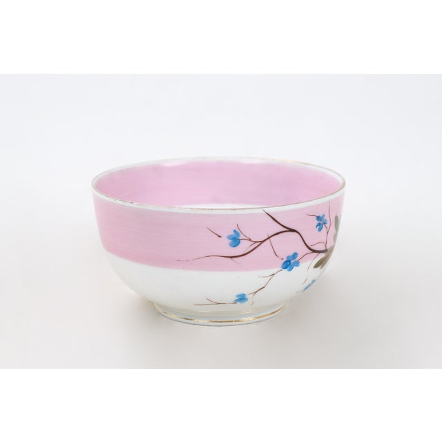 Mid-Century Modern Vintage Rs Prussia Porcelain Bowl Half Glazed in Pink With Small Blue Blossoms For Sale - Image 3 of 5
