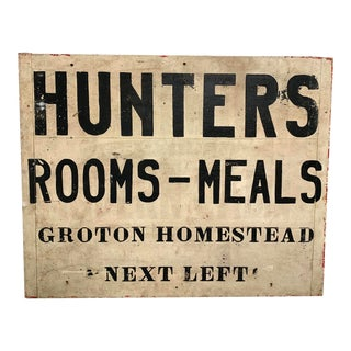 Early 20th Century Handmade Massachusetts Boarding House Advertising Sign For Sale