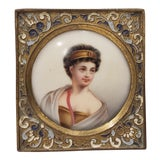 Image of Fine 19th C. Miniature Portrait on Porcelain of a Beautiful Young Woman For Sale