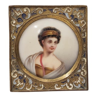 Fine 19th C. Miniature Portrait on Porcelain of a Beautiful Young Woman For Sale