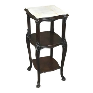 19th Century French Solid Rosewood Nightstand - Etagere Lamp Table For Sale
