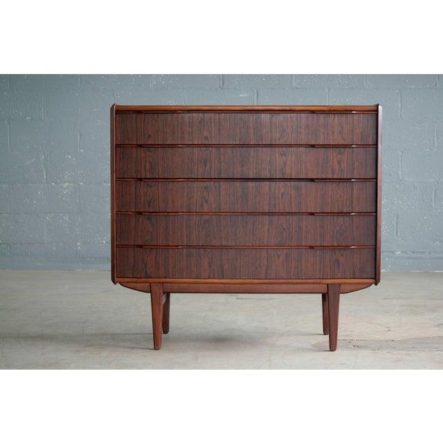 Mid-Century Modern Vintage Danish Mid-Century Rosewood Five-Drawer Dresser For Sale - Image 3 of 11