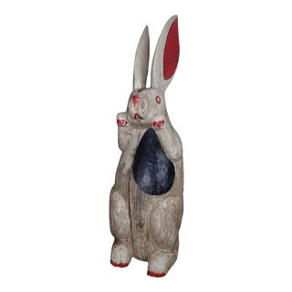 Antique Folk Art Painted & Carved Wood Rabbit For Sale