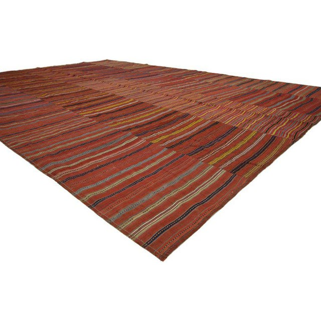 Turkish Vintage Mid-Century Turkish Jajim Kilim Flat-Weave Rug - 7′ × 10′1″ For Sale - Image 3 of 5