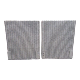 Vintage Light Grey Rattan Tall Twin Headboards - a Pair For Sale