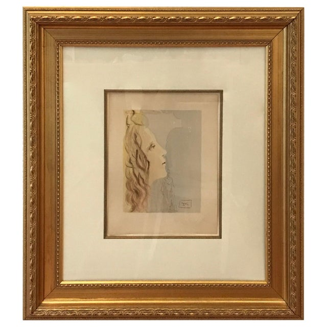 Watercolor Mid-Century Modern Painting, Grandest Beauty of Beatrice by Salvador Dali For Sale - Image 7 of 7