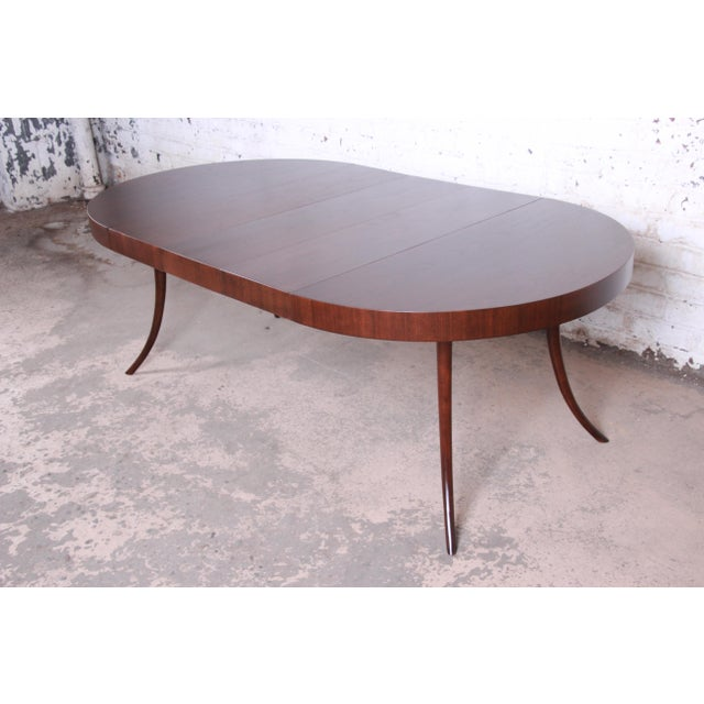 Contemporary Robsjohn-Gibbings for Widdicomb Mid-Century Modern Walnut Saber Leg Extension Dining Table, Newly Restored For Sale - Image 3 of 13