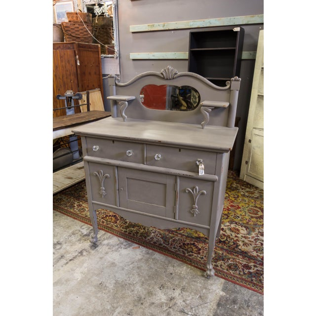 Vintage Gray Sideboard Cabinet With Mirror For Sale - Image 9 of 9