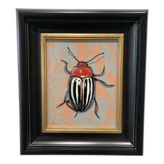 On Damask Vintage Beetle Painting by Kevin Brent Morris For Sale