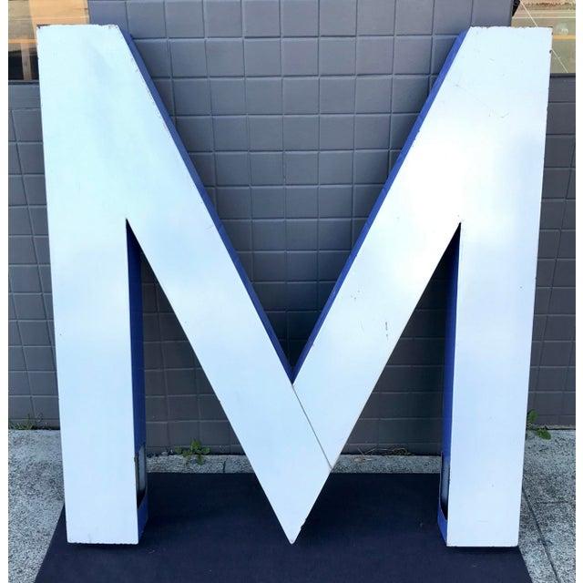 """Large Vintage Blue & White Enamel """"M"""" Building Signage For Sale - Image 12 of 12"""