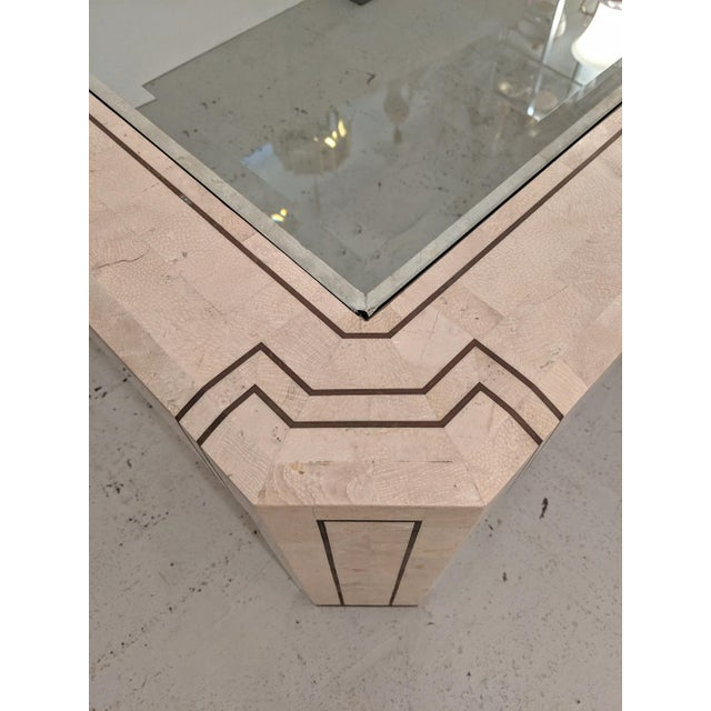 Ivory Alexvale Furniture - Tessellate Stone Cocktail Table. W/ Brass Trim, Vintage For Sale - Image 8 of 10